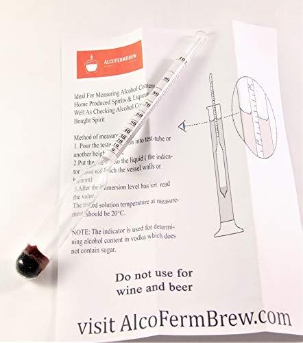 ALCOLOMETRO + TUBO DI PLASTICA (0-100%) – Densimetro, Idrometro, Idrometri, Enologia, Hooch, Distillatori Lievito 4