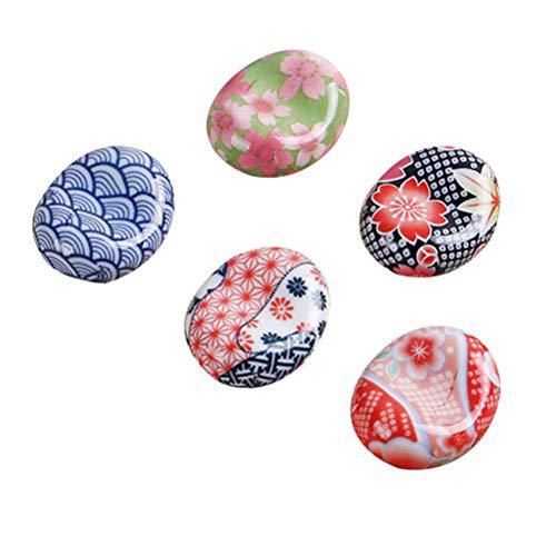 BESTONZON 5 pezzi bacchette di ceramica resto in stile giapponese bacchette Sakura cuscino cucchiaio cucchiaio forchetta coltello (modello casuale)