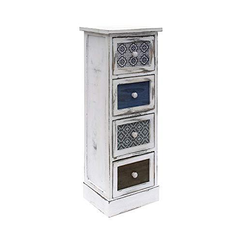 Rebecca Mobili Cassettiera Comodino Bianco Grigio Blu Shabby Legno 4 Cassetti Soggiorno Salvaspazio Arredo Casa – 80 x 29 x 25 cm (H x L x P) – Art. RE6082 2