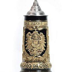 Amoy-Art Boccale di Birra con Coperchio Regali Fatti a Mano Souvenirs Bicchieri da Birra Rilievo inciso delle Germania Stemmi Sicurezza Alimentare Confezione Regalo 0.8 Litre