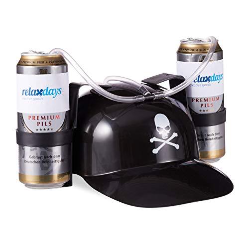 relaxdays- Elmetto Porta Birra con Stemma dei Pirati, per 2 Lattine, Gadget per Carnevale, Cappello per Bibite con Teschio Adulto, Nero, 10022790