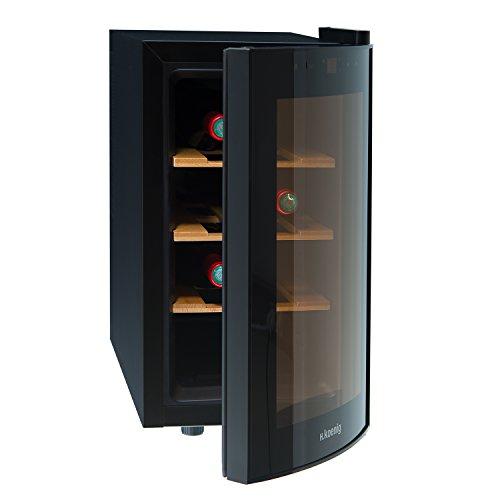 H.Koenig AGE8WV Cantinetta per 8 Bottiglie, 25L,3 ripiani, Temperatura 8-18°C, Silenziosa 74DB, Classe B