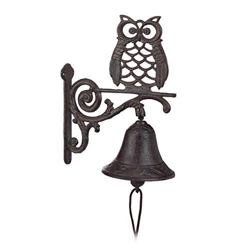 Relaxdays 10022946 Campanella per Porta in Ghisa Gufo Stile Rustico Antico Uccello Cordicella Resistente Casa Giardino Marrone Scuro