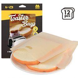 ilauke 12pz Sacchetti Toast Riutilizzabili Tostapane Sacchetti Antiaderente per Confezionare Pane Sandwich Pizza Tasche in Microonde Forno Grill