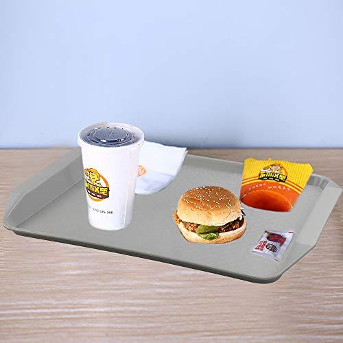 Ordate Fast food Vassoio Vassoi da Portata Plastica Rettangolare Grande, Grigio, Set di 6 3