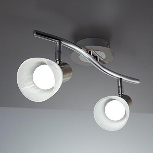 Plafoniera LED con 2 faretti orientabili, include 2 lampadine da 5W E14, lampada da soffitto per soggiorno, sala o camera da letto, metallo color nickel opaco e vetro, 230V, IP20 6