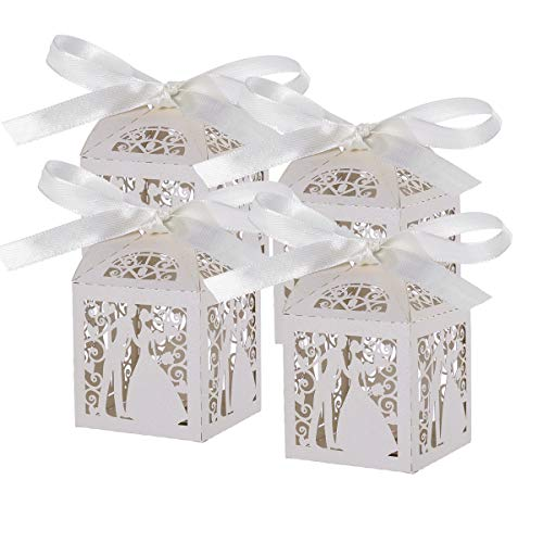Pixnor 100pz matrimonio dolci caramelle scatole regalo favore – coppia Design (bianco)