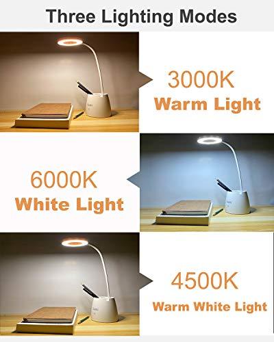 Lampada da Scrivania LED, Luce da Scrivania, Lampada da Tavolo per la Protezione Degli Occhi con 3 Modalità di Illuminazione, Dimmerabil 4