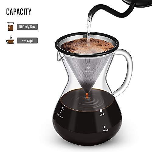 Soulhand Versare sopra Il Set per Il caffè – Caffettiera in Vetro Borosilicato 17oz 500ml, Gocciolatore Riutilizzabile del Filtro dell'Acciaio Inossidabile, Paletta del caffè 1 Cucchiaio 3