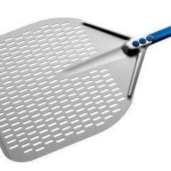 Pala pizza in alluminio anodiz forata rett 33x 33 cm manico 1.20 mt A-32RF/120