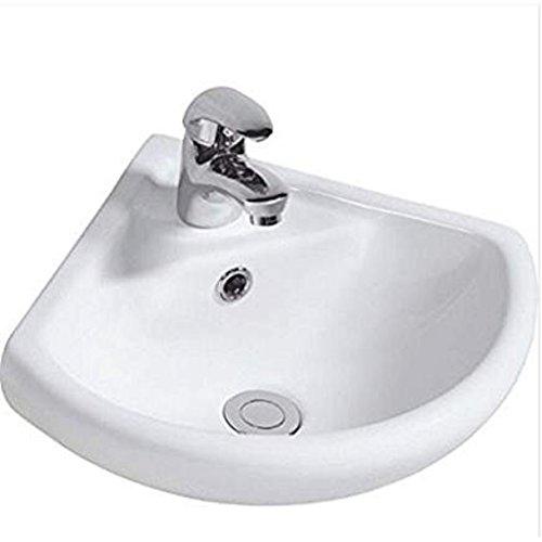 Lavabo ad angolo da parete in ceramica con 1 foro per rubinetto, 34 cm x 34 cm, 24 pezzi 2