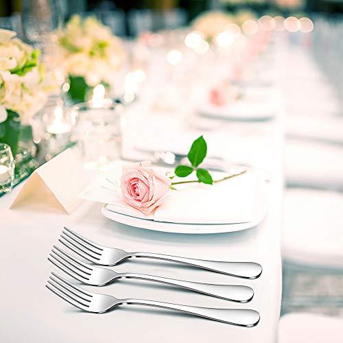 TeamFar – Set di 12 forchette da tavola in acciaio INOX, design elegante, set di posate da tavola da 20 cm, finitura a specchio e lavabile in lavastoviglie, 12 pezzi. 7