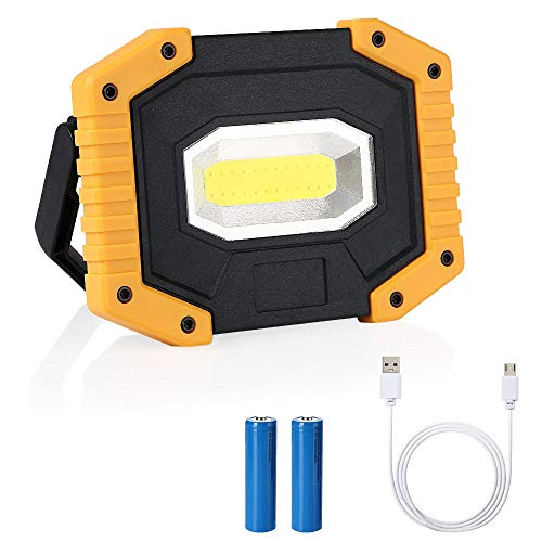 flintronic LED Portatile, 20W&1500LM LED Ricaricabile con Batteria Ricaricabile Integrata 1 Grande COB Lavoro Luce da Campeggio Lamp Impermeabile, 3 Modalità Regolabili