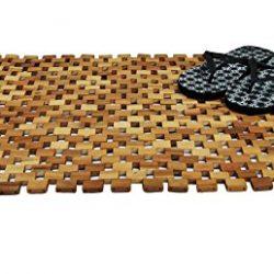 Tappetino per doccia e bagno in legno, 80 x 50 cm, in acacia