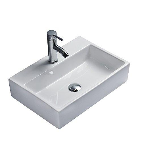 Gimify Lavabo da Appoggio 51×35.5x12cm Design Moderno Bacinella Lavandino Lavello in Ceramica Bianco Sanitari Bagno