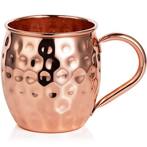 Bicchiere di Rame Moscow Mule – Fatto a Mano in Rame Puro al 100% – Bicchiere da 500 Grammi a Forma di barile con Effetto martellato in Confezione Regalo 3