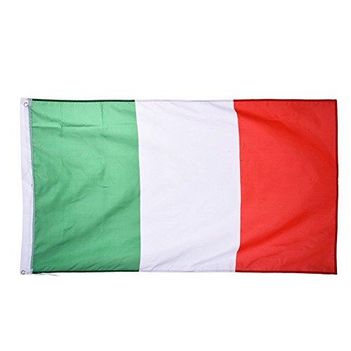 TRIXES Grande Bandiera Italiana con Anelli 90 x 150 cm, stendardo da Appendere per la Coppa del Mondo, Il Campionato Europeo, Eventi Sportivi