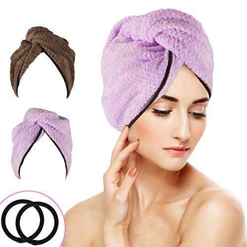 WOSTOO Asciugamano Capelli a Turbante, Capelli asciutti da 2pacchi Asciugamani in Microfibra Asciugacapelli Rapido Hair Towel Teli Doccia e Sauna 2