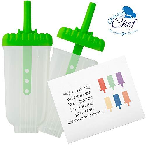Chuzy Chef, 6stampi per ghiaccioli,set con vassoio e salva goccia, senza BPA, verde. 5