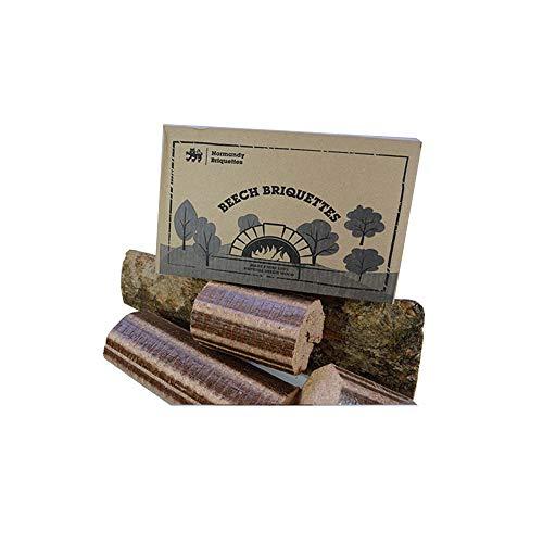 Normandy Briquettes – Bricchette di faggio, 12kg, per stufa e forno a legna per pizza, tronchi compressi a combustione molto calda e di lunga durata100% faggio naturale–combustibile ecologico.