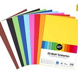 perfect ideaz carta da costruzione, 50 fogli colorati in formato A4, colorazione integrale, disponibili in 10 diversi colori, spessore 210 g/m², fogli di alta qualità
