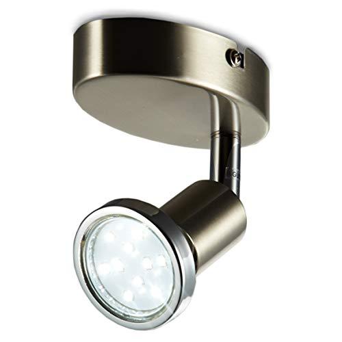 Faretto LED da soffitto orientabile, plafoniera moderna da soffitto e parete, include lampadina GU10 da 3W luce calda 3000K, per l'illuminazione di interni, metallo color nickel opaco, 230V IP20 3