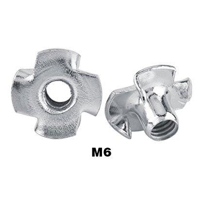 T Dadi a Quattro Punte a Dado in Acciaio Zincato a Carbone Duro per Mobili per la Lavorazione del Legno M3 / M4 / M5 / M6 / M8(M6 50 pezzi)