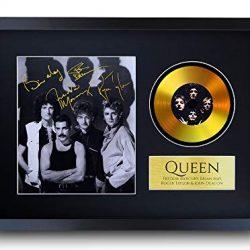 HWC Trading- Espositore con foto e firma stampata di Freddie Mercury., Queen Freddie Mercury Brian May – Disco dorato, formato A3, con cornice, A3