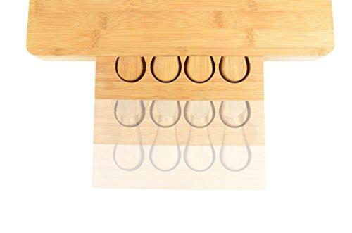 Tagliere per formaggi grande, in bambù, con speciale scomparto integrato per posate 6