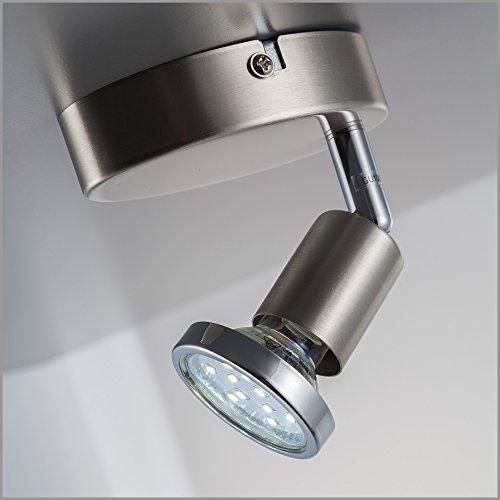 Faretto LED da soffitto orientabile, plafoniera moderna da soffitto e parete, include lampadina GU10 da 3W luce calda 3000K, per l'illuminazione di interni, metallo color nickel opaco, 230V IP20 4