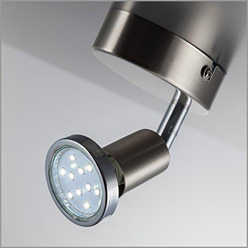 Faretto LED da soffitto orientabile, plafoniera moderna da soffitto e parete, include lampadina GU10 da 3W luce calda 3000K, per l'illuminazione di interni, metallo color nickel opaco, 230V IP20 5