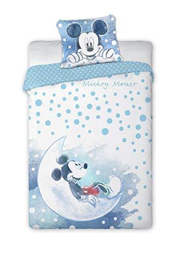 Set Letto BABY Cotone 100x135cm TOPOLINO Seduto Sulla Luna COPRIPIUMINO e FEDERA Originale 40x60cm Disney Mickey Mouse