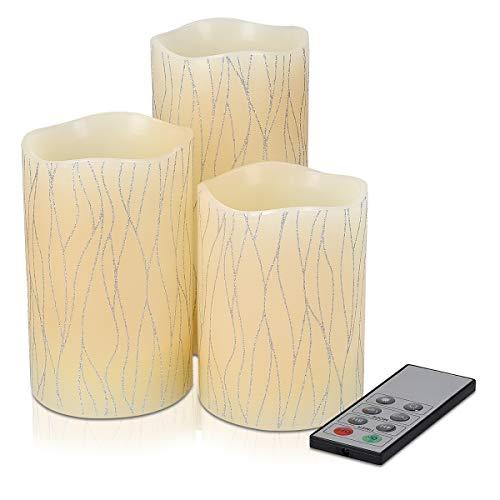 Navaris Set 3x Candele in Cera a LED – con Telecomando Timer e Dimmer – Candela Pilastro a Batteria – Decorazione Casa – Bianco Caldo – Div. Design