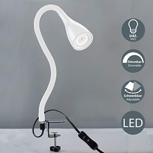 Lampada LED da tavolo con morsetto dimmerabile, include lampadina 5W GU10, luce calda 3000K, lampada da scrivania o comodino bianca