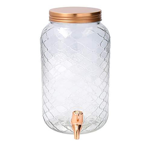 Quid Habitat Dispenser di bevande con rubinetto, vetro, rame, 3 litri