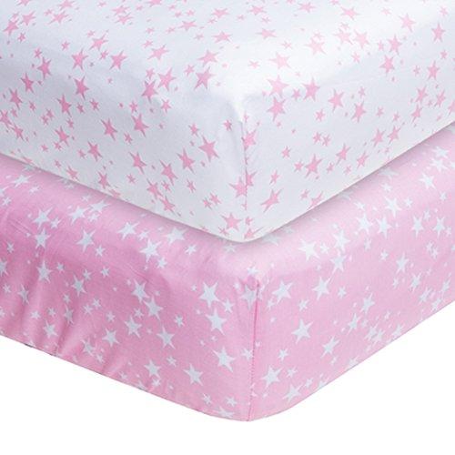 Coprimaterassi in cotone bianco e rosa, 200TC in morbido cotone, 3