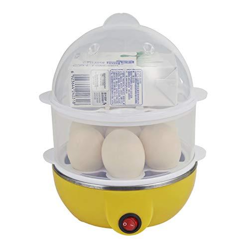 JIUY Livelli multifunzionale doppie elettrico di Smart Egg Boiler Cooker domestica cucina che cucina strumento utensile Egg vapore bracconiere (giallo) 2