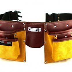 Cintura porta attrezzi in pelle di qualità con 11 tasche, cintura regolabile in nylon, regalo per la festa del papà, per il fai da te, falegname 2