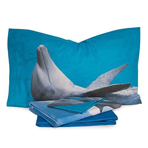 Completo lenzuola Water Dancing Dolphin di Bassetti – dimensioni varie R696 Matrimoniale