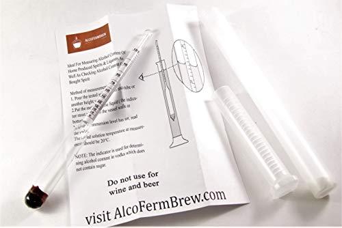 ALCOLOMETRO + TUBO DI PLASTICA (0-100%) – Densimetro, Idrometro, Idrometri, Enologia, Hooch, Distillatori Lievito 5