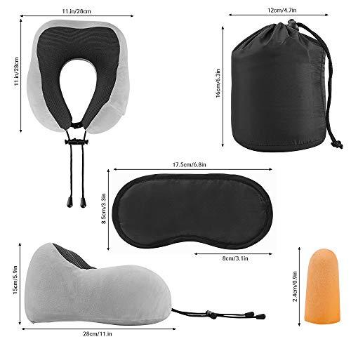 KEAFOLS Cuscino da Viaggio Memory Foam Cuscino Cervicale Collo Supporto Tightness Regolabile Con maschera per gli occhi e tappi per le orecchie per Auto Aereo Ufficio e Domestico 5