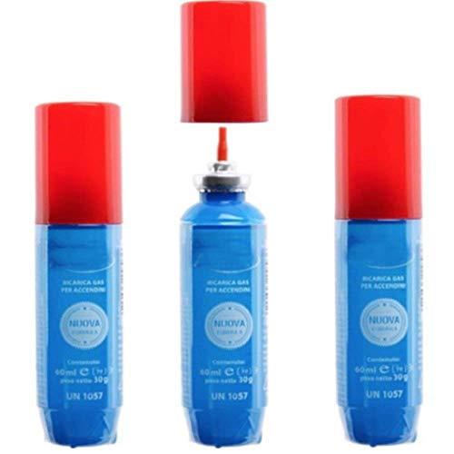 DOBO® Set 3 pezzi bomboletta Ricarica GAS butano per accendini 60ml con innesti ricariche accendini accendino piccola bombola