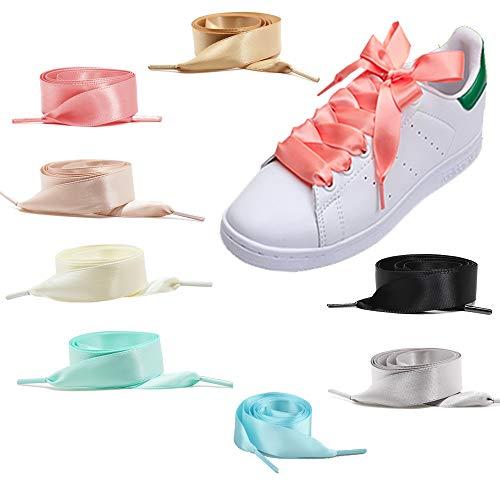 Lacci per scarpe 8 Pair in raso piatti larghi 2cm per donna ragazza, 8 colori Lacci per scarpe 120cm Lacci per nastri lunghi in raso Lacci bassi per scarpe sportive Scarpe da corsa montagna esterno
