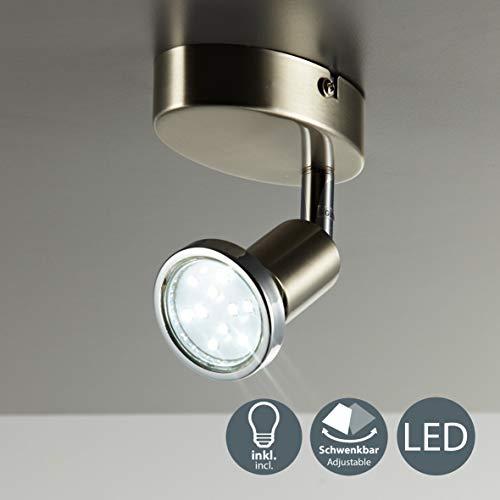 Faretto LED da soffitto orientabile, plafoniera moderna da soffitto e parete, include lampadina GU10 da 3W luce calda 3000K, per l'illuminazione di interni, metallo color nickel opaco, 230V IP20 2
