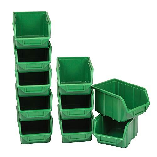 Contenitore per materiali industriali, stabile scaffale, magazzini, scatole impilabili, contenitori da 3,5 litri, Grün 10 Boxen, 10