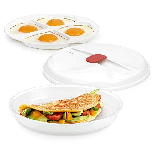 Tescoma 705030 Purity Microwave Cuoci Uova al Tegamino, Plastica, Bianco, 25.7 x 21.3 x 5.2 cm
