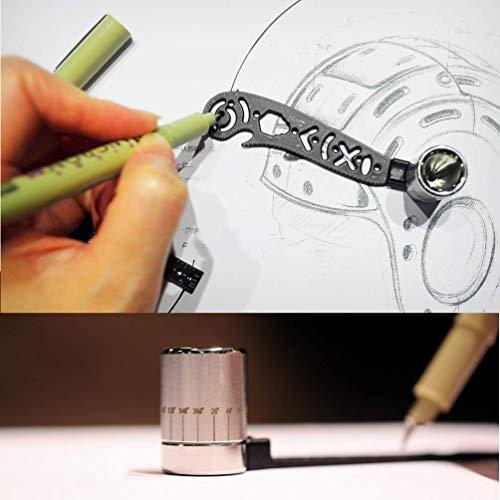 Il più versatile strumento di progettazione Magcon Disegno di un righello metallico curvo Mini bussola Goniometro Modelli combinati per designer di blocchi note Artisti Architetti Studente 5