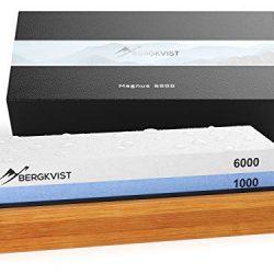 BERGKVIST affilacoltelli 2 in 1 Set di pietra per affilare 6000/1000 I affila-coltelli professionale ad acqua su tavoletta antiscivolo in bambù 2