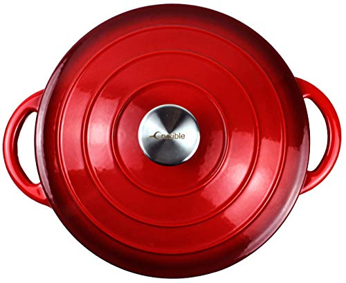 Pentola in ghisa smaltata con forno olandese con doppio manico e coperchio Casseruola per piatti – cocotte rotonda, 26 cm, rosso 4