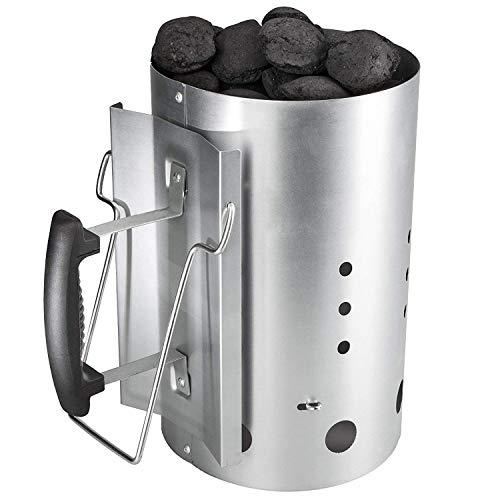 GFTIME Ciminiera con Impugnatura di Sicurezza, Kit Accenditore Barbecue, Kit ciminiera accensione 30cm H & 19CM Dia